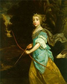 Mary II as a young girl dressed for a court masque as the goddess and huntress Diana.