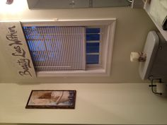 Master bathroom window treatment. Drywall, maze nails and paint.