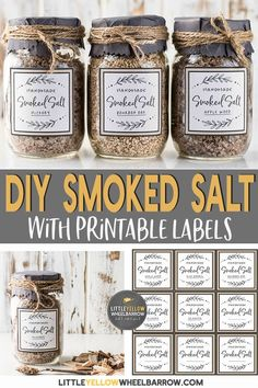 Make a batch of smoked salt and add a pinch of fire roasted flavor to anything you want. These jars of smoked salts make great hostess/ host gifts or holiday gift for any foodie on your list. See what salts work best and what kinds of wood you should use Homemade Spices, Homemade Seasonings, Homemade Gifts, Homemade Smoker, Diy Food Gifts, Spice Blends, Spice Mixes, Chutneys, Smoker Recipes