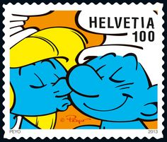 Swiss special stamp: The Smurfs - Kiss http://www.post.ch/philashop