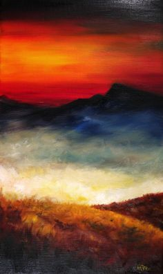 Trabajo en óleo y espátula - Puesta de sol en el paraiso. Work in oil and spatule - Sunset in paradise. HMZEN'15