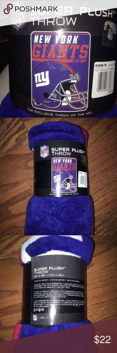 "NEW New York Giants NFL 46"" x 60"" Plush Blanket NEW WITH TAGS New York Giants NFL 46"" x 60"" Team Super Plush Blanket/ Throw $35...Smoke & Pet Free Home Other"