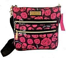 Betsey Johnson TOSSING SKULLS & ROSES Crossbody Handbag Purse in Black with Pink Print, http://www.amazon.com/dp/B00H7N66H4/ref=cm_sw_r_pi_awdm_3oSZsb0DYH1CK