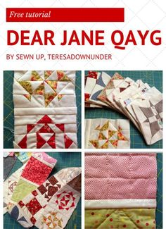 Free tutorial- Dear Jane Quilt as you go (QAYG) TERESADOWNUNDER Quilt-as-you-go method 1 – no hand sewing or batting required(with video tutorial) and Quilt-as-you-go method 2 – hand sewing required Quilting For Beginners, Quilting Tutorials, Quilting Tips, Modern Quilting, Quilting Projects, Dear Jane Quilt, Farmers Wife Quilt, Baby Jane, Sampler Quilts