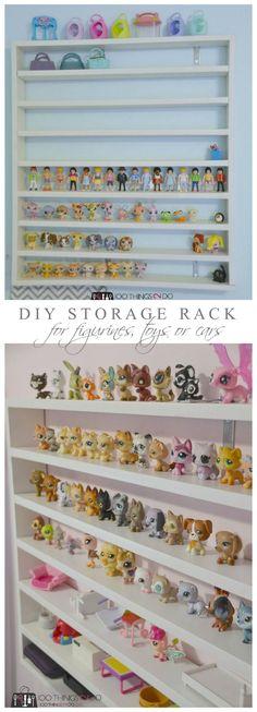 DIY Toy Shelving DIY storage rack for figurines, Littlest Pet Shops and/or race cars Diy Storage Rack, Toy Car Storage, Shop Storage, Storage Ideas, Doll Storage, Paint Storage, Playroom Storage, Kids Storage, Craft Storage