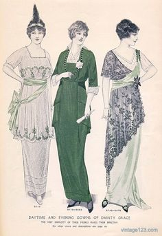 Day and evening dress fashion plate, 1914.