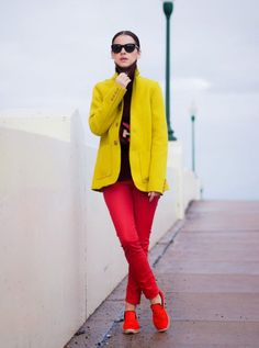 6. Yellow Blazer With Red Pants 2017 Street Style