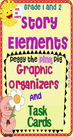 This pack includes: ♥A Set of Story Comprehension Task Cards Based on the Story Peggy the Pig. Laminate them for prolonged use. ♥A Set of Pig Themed Graphic Organisers Story Elements covered in this product are 1. Characters 2 Setting 3 Problem 4 Events 5 Solution Higher Order Thinking Skills covered are 1. Text to Self Connection 2 Text to Text Connection 3 Text to World Connection 4 Making a Prediction