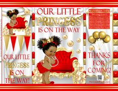 African American Prince Baby Shower Royal Princess, Baby Princess, Little Princess, Baby Shower Purple, Gold Baby Showers, Pretzel Bags, Princess Favors, Brochure Paper, Chip Bags
