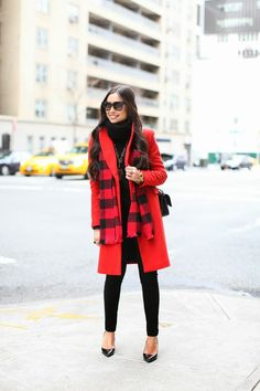 J. Crew Buffalo Check Scarf in Red and Black