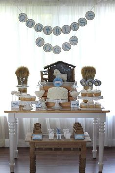 Take a look at this beautiful Lamb themed Baptism Party. The dessert table is adorable! See more ideas and share yours at CatchMyParty.com