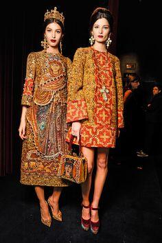 backstage at dolce & gabbana winter 2014 womens fashion show