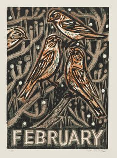 February | Kent Ambler | Woodcut, edition of 30