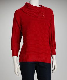Take a look at this Red Petite Button-Collar Sweater by Pink Ocean on #zulily today!
