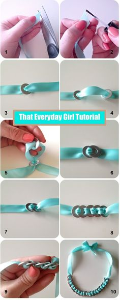 DIY Ribbon and Washer Necklace/Bracelet Tutorial! https://www.retailpackaging.com/categories/74-everyday-specialty-ribbon #arts #crafts #jewelry