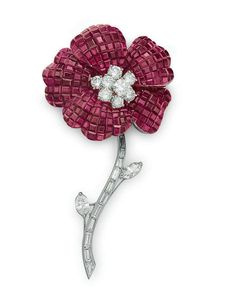 A 'Mystery-Set'' ruby and diamond flower brooch, by Van Cleef & Arpels