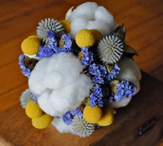 Mixed Cotton Bridal Bouquet - Natural Cotton Boll - Raw Cotton - Craspedia - Cotton Burs - Globe Thistle - Statice - Wedding - Home Decor. $95.00, via Etsy.