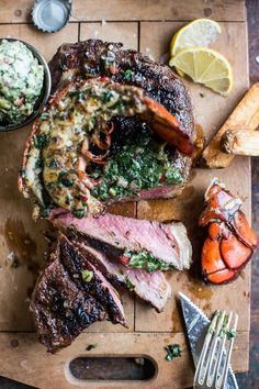 Surf and Turf- Steak and Lobster with Spicy Roasted Garlic Chimichurri Butter