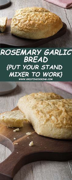 Rosemary Bread, Herb Bread, Garlic Bread, Easy Bread Recipes, Baking Recipes, Bread Mixer, Stand Mixer Recipes, Kitchen Aid Recipes, Bread Kitchen