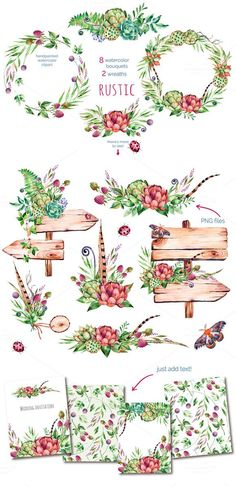 Rustic watercolor collection by Kate_Rina on Creative Market - Ideen finanzieren Watercolor On Wood, Wreath Watercolor, Watercolor Wedding, Watercolor Flowers, Watercolor Paintings, Wedding Drawing, Background Clipart, Background Patterns, Wood Background