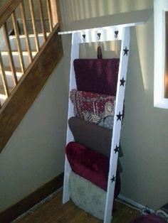 wooden blanket rack