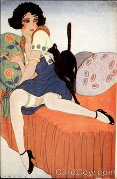 Art Deco Woman and her cat