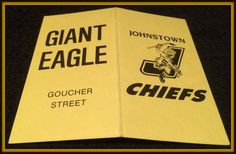1992-93 JOHNSTOWN CHIEFS GIANT EAGLE HOCKEY POCKET SCHEDULE FREE SHIPPING #Pocket #SCHEDULE