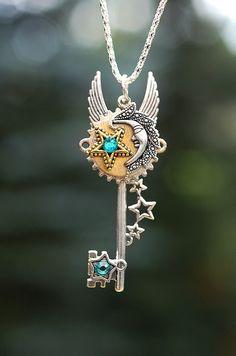 Moon Star Key Necklace  167 by KeypersCove on Etsy, $20.00