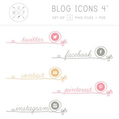 Social Media Icons - Cute Social Media Buttons - Hand Drawn Website Icons - custom colors and size - personal and commercial use (4) via Etsy