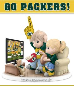 Show your passion for your team and your sweetie with this first-ever Precious Moments® Every Day Is a Touchdown With You Packers Figurine