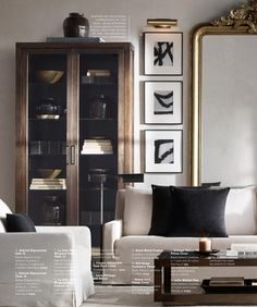 Masculine living room with a touch of glam. Love the black and white artwork and gold mirror. Via Restoration Hardware Source Books Masculine Living Rooms, Living Room Warm, Trendy Living Rooms, Room Inspiration, House Interior, Interior Design Living Room, Interior Design, Living Decor, Home And Living