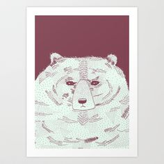 Grumpy Bear Art Print by Alice Rebecca Potter - $20.00