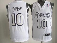 Adidas NBA Los Angeles Lakers 10 Steve Nash Big Color Fashion Swingman Christmas Day White Jerseys