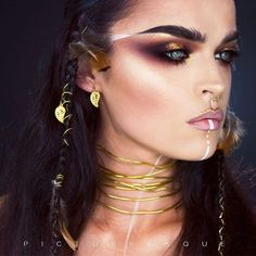 warrior makeup female - Coachella 2017 Style Guide SLAY Your Festival White Makeup, Gold Makeup, Eye Makeup, Hair Makeup, Makeup Hairstyle, Clown Makeup, Hairstyle Ideas, 2017 Makeup, Movie Makeup
