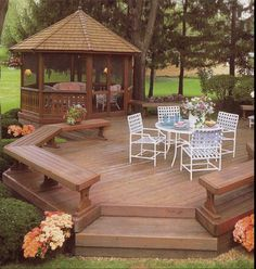A screened gazebo with an attached deck...This is absolutely PERFECT for me. I can relax outside without the worry of bugs attacking me and I have a deck to host small get togethers with my friends. Not too crazy about the featured furniture, but I love this.
