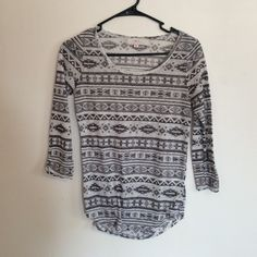 Wilfred Aztec Top Super cute Aztec print 3/4 sleeve top by Wilfred from Aritzia! 100% polyester and super light and airy material. It is semi-sheer, but looks great with a tank top underneath and a pair of distressed shorts! Only worn a few times, still in great condition Aritzia Tops Tees - Long Sleeve