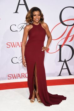 Pin for Later: See All the CFDA Awards Glamour Straight From the Red Carpet Taraji P. Henson In a Vera Wang Collection gown, Gianvito Rossi heels, and Astley Clarke jewels.