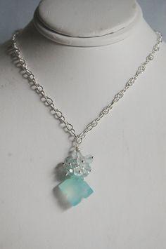 Rare Blue square chalcedony and blue zircon by ferozasjewelery, $55.00