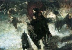 """A depiction of """"The Wild Hunt"""" that includes a black dog running beside Wotan (Odin) on horseback. By Franz von Stuck, 1889  Variations of the Wild Hunt are found in both Celtic and Germanic mythology. But, it was especially prevalent in Germanic paganism where the hunt was led by the god Odin."""