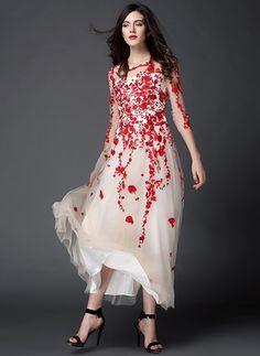 Mousseline Florale Manches 1008700/1008700 Maxi Vintage Robes (1008700) @ floryday.com