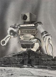 Preservation-Restoration Robot - By: Joseph Karwacki (Analog Collage - 7 Analog, Cave Paintings, Joseph, Surrealist, Original Collage, How To Make Drawing, Emerging Artists, Art, Collage Artwork