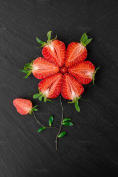 Fresh Juicy Ripe Cut Strawberries - Food & Drink