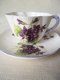 Vintage Shelley Violets Fluted Tea Cup & Saucer,