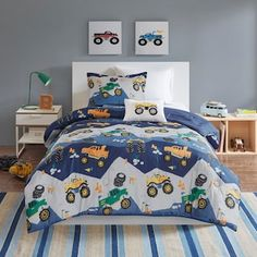 Shop for Mi Zone Kids Gavin Blue Printed Coverlet Set. Ships To Canada at Overstock - Your Online Kids Bedding Store! Kids Comforter Sets, Kids Comforters, Bedding Sets, Monster Jam, Monster Truck Bed, Truck Bedroom, Accent Colors For Gray, Dorm Bedding, Sports Bedding