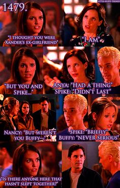 """I love the look that Spike and Xander share! Lol. It's like, """"Umm...yeah, we haven't and never f***ing will!"""" Lol."""