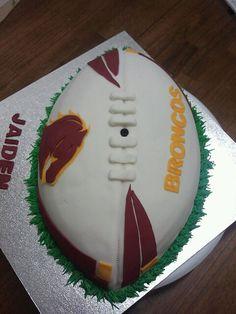 NRL Brisbane Broncos football cake avail from tingalpa Australia. Rugby League birthday Party cake