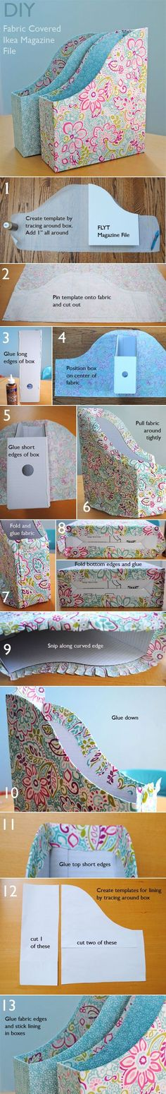 fabric covered ikea magazine files tutorial by Di Packer