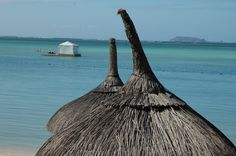 Seven dwarves hats lining up at the beach in Mauritius