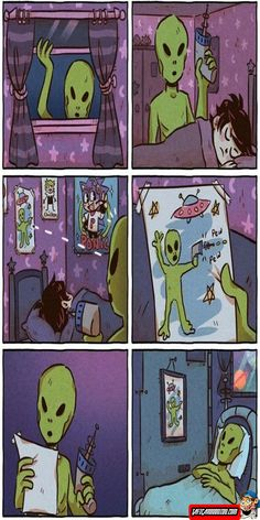 Top 27 Alien Memes - Quotes and Humor Really Funny Memes, Stupid Funny Memes, Funny Relatable Memes, Funny Humour, Cute Comics, Funny Comics, Z Toon, 4 Panel Life, Kid N Teenagers