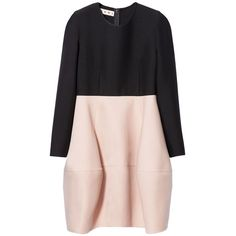 Marni Long sleeve dress ($1,150) ❤ liked on Polyvore featuring dresses, antic rose, pink wool dress, marni dress, long sleeve crew neck dress, two tone dress and crew neck dress